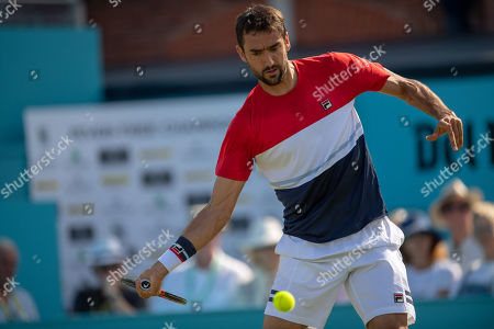 Marin Cilic (CRO) in action during his match against Gilles Muller (LUX).  Fever-Tree Tennis Championships, Queens Tennis Club, London, England, 20th June 2018.