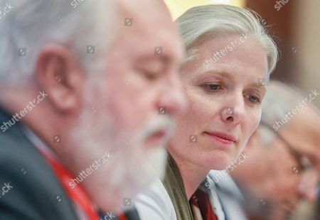 Stock Picture of EU Commissioner for Energy and Climate Action Miguel Arias Canete (L) and Climate Change and Environment Minister Catherine McKenna, Canada (R) attend the second  Ministerial on climate action at Egmond Palace in Brussels, Belgium, 20 June 2018. The second Ministerial on Climate Action (MoCA) taking place on 20 - 21 June 2018 will be attended by ministers and high-level representatives from over 35 countries, including ministers from the G20 and chairs of key party groupings in the UN climate negotiations.