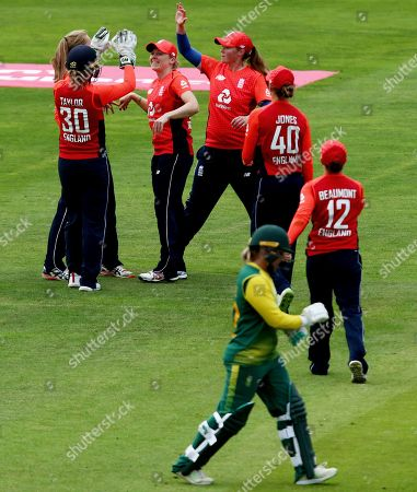 England Captain Heather Knight celebrates catching out Mignon du Preez of South Africa off the bowling of Sophie Ecclestone.
