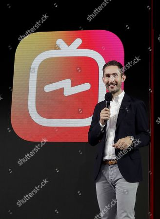 Stock Photo of Kevin Systrom, CEO and co-founder of Instagram, prepares for Wednesday's announcement about IGTV in San Francisco. Facebook's Instagram app is loosening its restraints on video with a new channel that will attempt to lure younger viewers away from Google's YouTube and pave the way to sell more advertising
