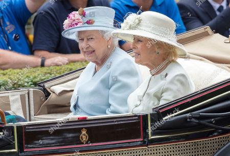 Queen Elizabeth II arrives with Princess Alexandra