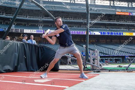 Sam Burgess has some batting practice at Coors Field.