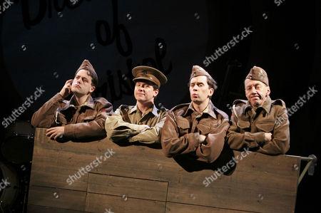 Stock Image of l-r: Dominic Gerrard (Edgington), William Findley (Goldsmith), Sholto Morgan (Spike), David Morley Hale (Kidgell)