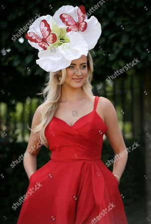 Harriadnie Beau poses for the media on the third day of the Royal Ascot horse race meeting, which is traditionally known as Ladies Day, in Ascot, England