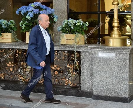 Former FIFA President Sepp Blatter leaves a hotel in Moscow, Russia, . Former FIFA President Sepp Blatter says he met Vladimir Putin at the Kremlin and talked about the Russia team's good start to the World Cup
