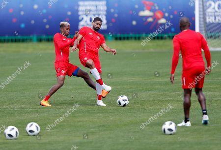 Panama's national soccer team players Gabriel Gomez (C) and his teammates attend their team's training session at Olympic Sports Center in Saransk, Russia, 21 June 2018. Panama will face England in the FIFA World Cup 2018 group G preliminary round soccer match at Nizhny Novgorod Stadium in Nizhny Novgorod on 24 June 2018.
