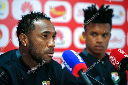 Panama's national soccer team players forward Luis Tejada (L) and his teammate defender Luis Ovalle (R) attend a press conference at Olympic Sports Center in Saransk, Russia, 21 June 2018. Panama will face England in the FIFA World Cup 2018 group G preliminary round soccer match at Nizhny Novgorod Stadium in Nizhny Novgorod on 24 June 2018.