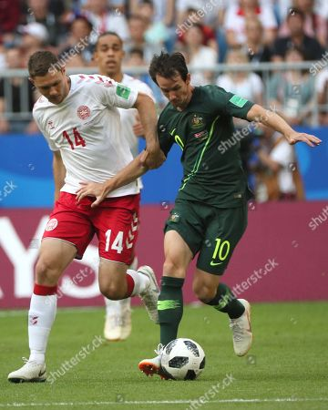 Henrik Dalsgaard (L) of Denmark and Robbie Kruse of Australia in action during the FIFA World Cup 2018 group C preliminary round soccer match between Denmark and Australia in Samara, Russia, 21 June 2018.