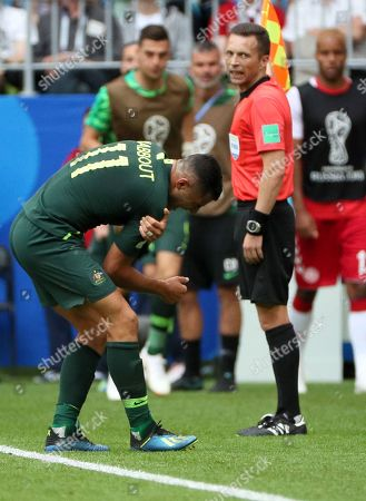 Andrew Nabbout of Australia reacts in pain during the FIFA World Cup 2018 group C preliminary round soccer match between Denmark and Australia in Samara, Russia, 21 June 2018.