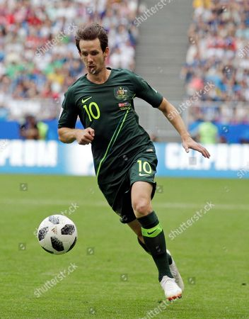 Australia's Robbie Kruse runs with the ball during the group C match between Denmark and Australia at the 2018 soccer World Cup in the Samara Arena in Samara, Russia