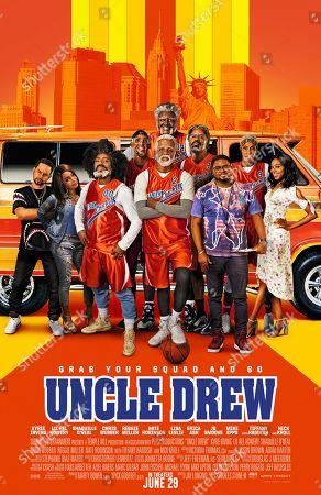 Uncle Drew (2018) Poster Art. Nick Kroll, Tiffany Haddish, Nate Robinson, Reggie Miller, Kyrie Irving, Shaquille O'Neal, Chris Webber, Lil Rel Howery, Lisa Leslie, Erica Ash