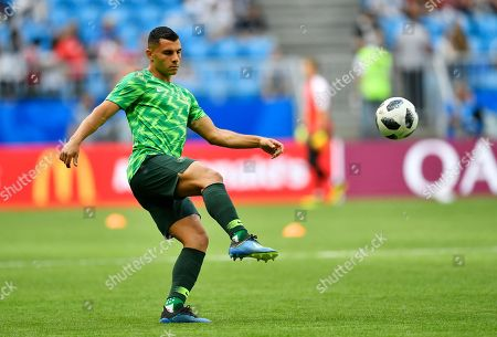 Australia's Andrew Nabbout warms up prior to the group C match between Denmark and Australia at the 2018 soccer World Cup in the Samara Arena in Samara, Russia
