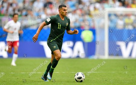 Australia's Andrew Nabbout goes with the ball during the group C match between Denmark and Australia at the 2018 soccer World Cup in the Samara Arena in Samara, Russia