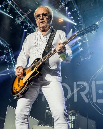 The English-American rock band Foreigner with founder and lead guitarist Mick Jones performs at the Blue Hills Bank Pavilion, in Boston as part of The Juke Box Heroes Tour