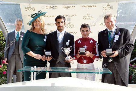 Presentation by Kirsty Young to Mohammed Al Attiya, Mark Johnston and Andrea Atzeni for The King George V Stakes won by BAGHDAD Royal Ascot