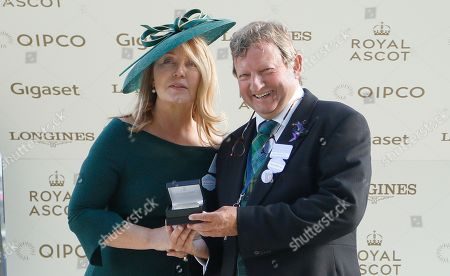 Presentation by Kirsty Young to Mark Johnston for The King George V Stakes won by BAGHDAD Royal Ascot
