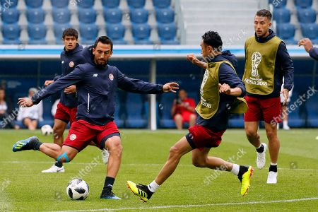 Stock Photo of Costa Rica's Randall Azofeifa (L) during the team's training session in St Petersburg, Russia, 21 June 2018. Costa Rica will face Brazil in their FIFA World Cup 2018 Group E preliminary round soccer match on 22 June 2018.