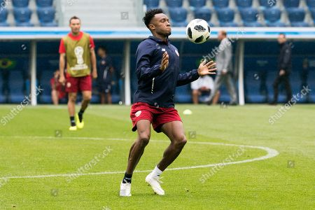 Costa Rica's Rodney Wallace during the team's training session in St.Petersburg, Russia, 21 June 2018. Brazil will face Costa Rica in the FIFA World Cup 2018 Group E preliminary round soccer match on 22 June 2018.