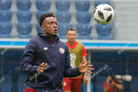 Costa Rica's Rodney Wallace during Costa Rica's official training on the eve of the group E match between Brazil and Costa Rica at the 2018 soccer World Cup in the St. Petersburg stadium in St. Petersburg, Russia