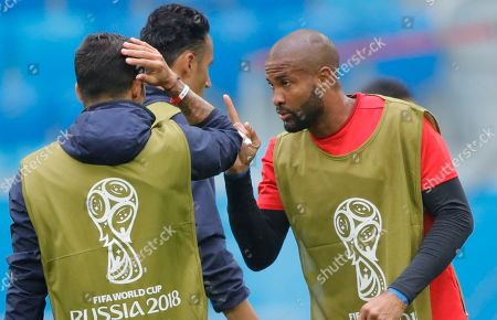 Stock Picture of Costa Rica's goalkeeper Patrick Pemberton, right, during Costa Rica's official training on the eve of the group E match between Brazil and Costa Rica at the 2018 soccer World Cup in the St. Petersburg stadium in St. Petersburg, Russia