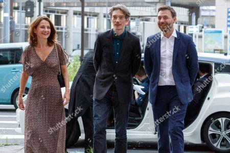 Stock Image of French director and screenwriter Anne-Dauphine Julliand, actor Swann Arlaud and the screenwriter Hubert Charuel