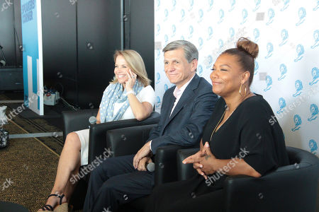 From left, Katie Couric, Queen Latifah and Marc Pritchard, Chief Brand Officer P&G, at the Palais des festivals in the media centre on Wednesday, in Cannes, France