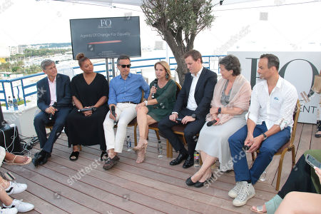IMAGE DISTRIBUTED FOR PROCTOR & GAMBLE - From left, Marc Pritchard, Chief Brand Officer P&G, Queen Latifah, Antonio Luce, CMO, HP, Katie Couric, CMO Diageo (TBD), Hugh Evans, Madonna Badger and guest Global Citizen at the Girls Lounge at the Hotel Martinez on Wednesday, 20 June, 2018 in Cannes, France