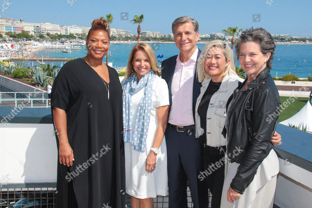 IMAGE DISTRIBUTED FOR PROCTOR & GAMBLE - From left, Queen Latifah, Katie Couric, Marc Pritchard, Chief Brand Officer P&G, MILCK, and Madonna Badger at the Palais des festivals photocall on Wednesday, 20 June, 2018 in Cannes, France