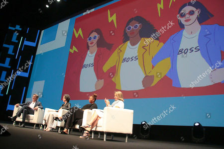 From left, Marc Pritchard, Chief Brand Officer P&G, Madonna Badger, Queen Latifah, and Katie Couric speak on stage at the Palais Lumiere Theatre on Wednesday, in Cannes, France