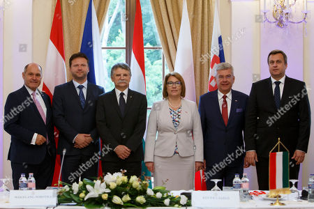 President of the Austrian National Council, the first chamber of the country's Parliament Wolfgang Sobotka, President of the Lower House of the Czech Parliament Radek Vondracek, Speaker of the Hungarian Parliament Laszlo Kover, Beata Mazurek, Deputy Speaker of the Sejm (lower house of the Polish parliament), President of the Polish Senate Stanislaw Karczewski, Speaker of the Slovakian Parliament Andrej Danko (L-R) attend the informal meeting of the parliament speakers of the V4 (Visegrad Group) countries at the ceremonial hall of the Anna Grand Hotel in Balatonfured, 124 kms southwest of Budapest, Hungary, 22 June 2018.
