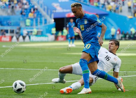 Neymar of Brazil and Johnny Acosta of Costa Rica