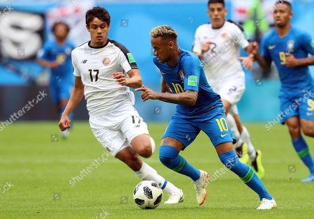 Yeltsin Tejeda of Costa Rica and Neymar of Brazil