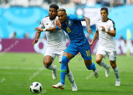 Neymar of Brazil and Johan Venegas of Costa Rica