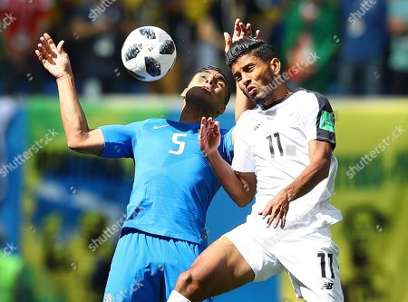 Casemiro of Brazil and Johan Venegas of Costa Rica