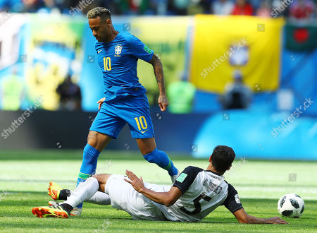 Neymar of Brazil and Celso Borges of Costa Rica