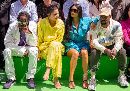 Travis Scott, Kylie Jenner, Kim Kardashian and Kanye West