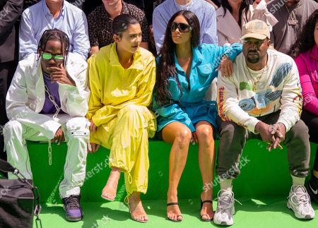 Stock Image of Travis Scott, Kylie Jenner, Kim Kardashian and Kanye West