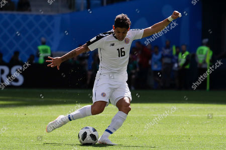 Costa Rica's Cristian Gamboa kicks the ball during the group E match between Brazil and Costa Rica at the 2018 soccer World Cup in the St. Petersburg Stadium in St. Petersburg, Russia