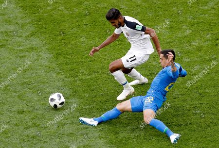 Costa Rica's Johan Venegas, left, challenges for the ball with Brazil's Fagner during the group E match between Brazil and Costa Rica at the 2018 soccer World Cup in the St. Petersburg Stadium in St. Petersburg, Russia