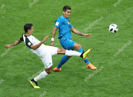 Roberto Firmino of Brazil and Celso Borges of Costa Rica