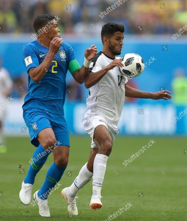 Brazil's Thiago Silva, left, challenges for the ball with Costa Rica's Johan Venegas, during the group E match between Brazil and Costa Rica at the 2018 soccer World Cup in the St. Petersburg Stadium in St. Petersburg, Russia