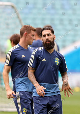 Sweden midfielder Jimmy Durmaz  and teammates during a training session at the Fisht Olympic Stadium in Sochi, Russia, 22 June 2018. Sweden will face Germany in their FIFA World Cup Group F preliminary round soccer match on 23 June 2018.