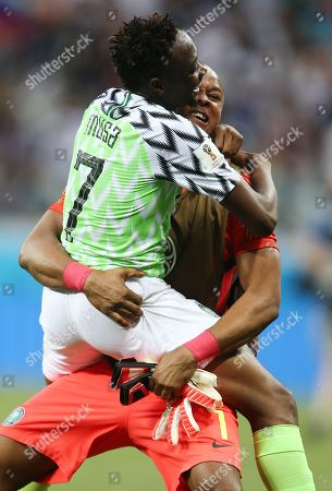 Ahmed Musa of Nigeria celebrates with Goalkeeper Ikechukwu Ezenwa at the end of the match