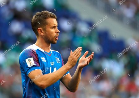 Kari Arnason of Iceland reacts during the FIFA World Cup 2018 group D preliminary round soccer match between Nigeria and Iceland in Volgograd, Russia, 22 June 2018. (RESTRICTIONS APPLY: Editorial Use Only, not used in association with any commercial entity - Images must not be used in any form of alert service or push service of any kind including via mobile alert services, downloads to mobile devices or MMS messaging - Images must appear as still images and must not emulate match action video footage - No alteration is made to, and no text or image is superimposed over, any published image which: (a) intentionally obscures or removes a sponsor identification image; or (b) adds or overlays the commercial identification of any third party which is not officially associated with the FIFA World Cup)