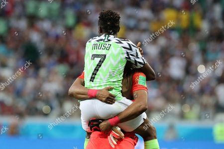 Stock Image of Ahmed Musa of Nigeria and Goalkeeper Ikechukwu Ezenwa of Nigeria
