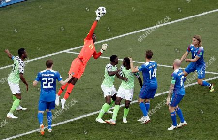 Nigeria goalkeeper Francis Uzoho makes a save during the group D match between Nigeria and Iceland at the 2018 soccer World Cup in the Volgograd Arena in Volgograd, Russia