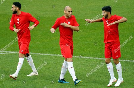 Tunisian players Dylan Bronn (L), Yohan Ben Alouane (C) and Oussama Haddadi attend a training at the Spartak Stadium, in Moscow, Russia, 22 June 2018. Tunisia will face Belgium in their FIFA World Cup 2018 Group G preliminary round soccer match on 23 June 2018.