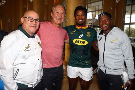 Charles Wessels Operational Head of South Africa with Rob Louw former South African rugby player Sikhumbuzo Notshe of South Africa and JJ Fredericks (Logistics Manager) duringthe South African Springbok team photo,  at the The Cullinan Hotel in Cape Town.South Africa. 22,06,2018 22,06,2018 Photo by (Steve Haag JMP)