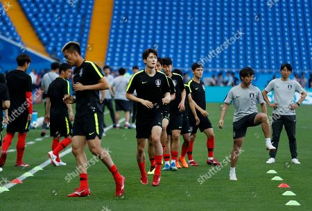 Stock Image of South Korea's Oh Ban-suk warm up during South Korea's official training on the eve of the group F match between South Korea and Mexico at the 2018 soccer World Cup at the Rostov Arena, in Rostov-on-Don, Russia