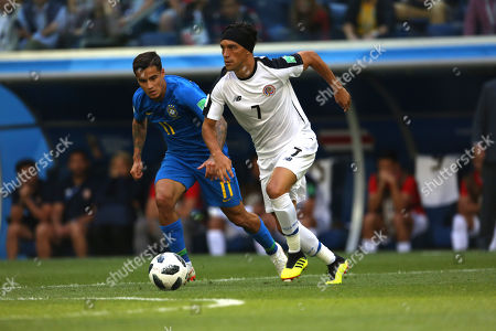 Stock Image of Christian Bolanos in action during the Fifa World Cup Russia 2018, Group E, football match between Brazil v Costa Rica in Saint Petersburg Stadium.